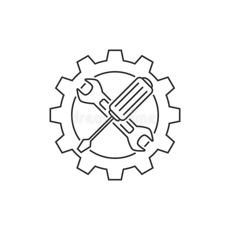 Linje för teknisk service symbol stock illustrationer