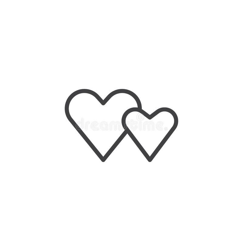 Linje för två valentinhjärtor symbol stock illustrationer