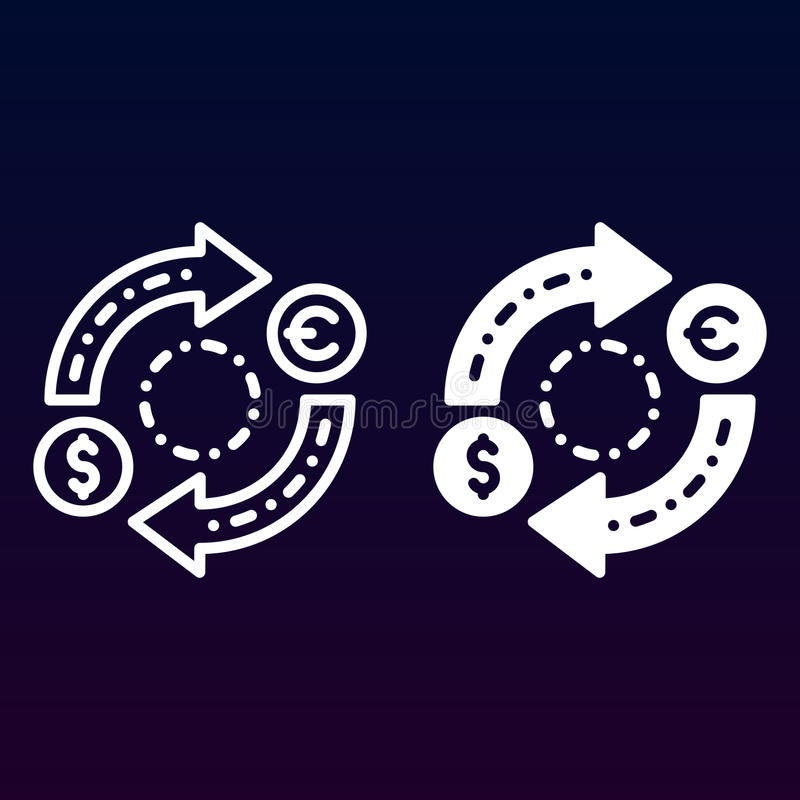 Linje för valutautbyte och fast symbol, översikt och fylld pictogram för tecken för vektor som linjär och full, isoleras på vit royaltyfri illustrationer