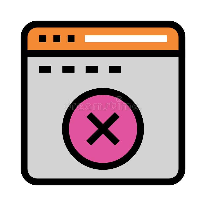 Linje för webbsidaborttagningsfärg symbol stock illustrationer