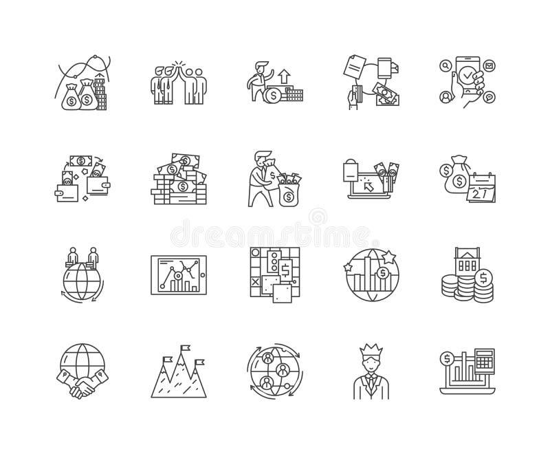 Linje f?r global aff?r symboler, tecken, vektorupps?ttning, ?versiktsillustrationbegrepp stock illustrationer