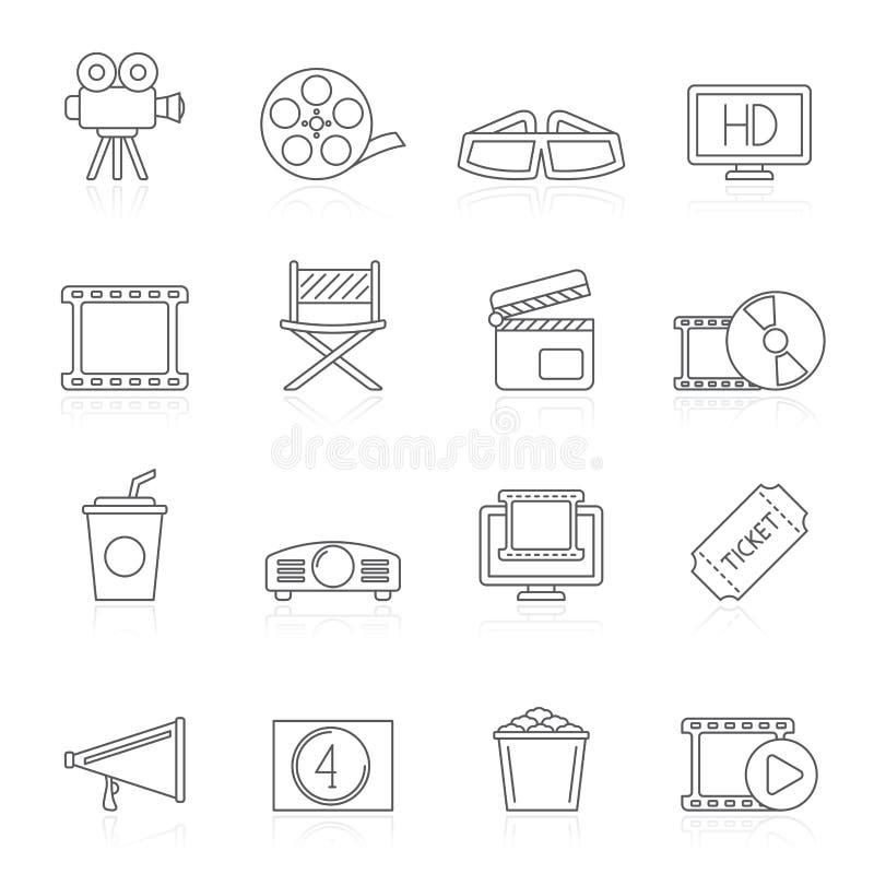 Linje film och biosymboler stock illustrationer