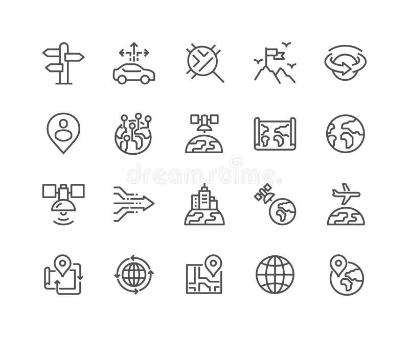 Linje globala navigeringsymboler vektor illustrationer