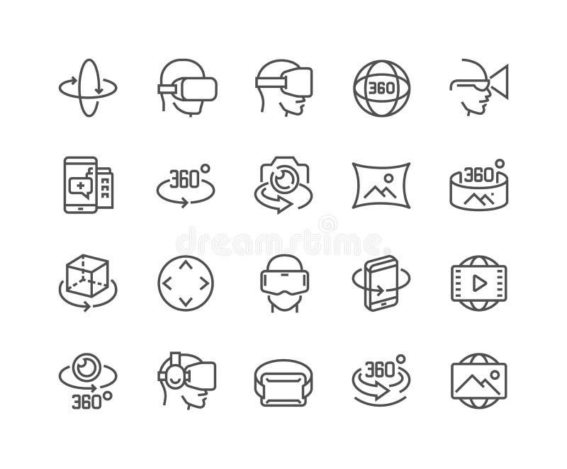 Linje 360 grad symboler stock illustrationer