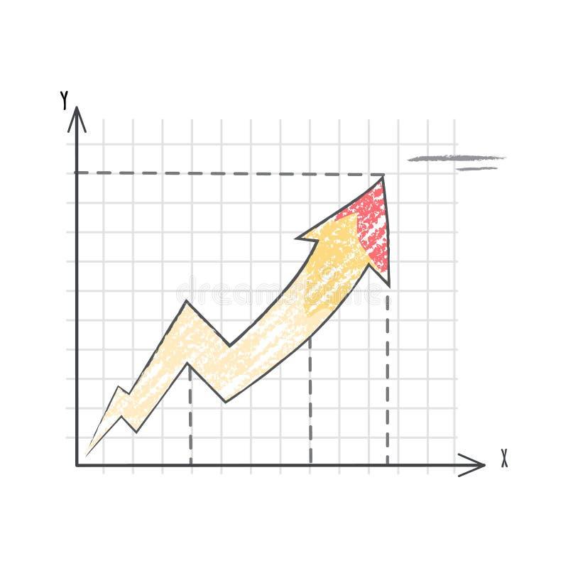 Linje graf som föreställer illustrationen för datavektor royaltyfri illustrationer