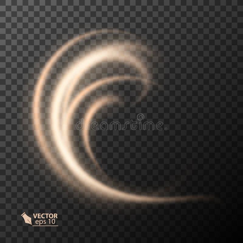 Linje guld- vektorcirkel för ljus effekt Glödande ljust brandcirkelspår Blänka på magisk effekt för gnistrandevirvelslingan stock illustrationer