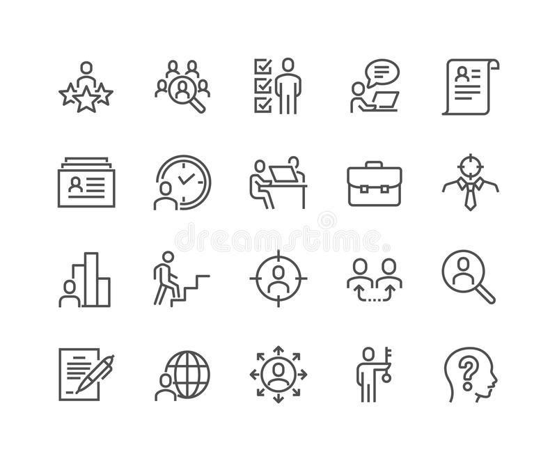 Linje headhuntingsymboler stock illustrationer