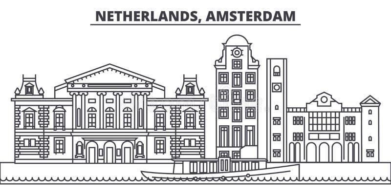 Linje horisontvektorillustration för Nederländerna Amsterdam Linjär cityscape för Nederländerna Amsterdam med berömda gränsmärken royaltyfri illustrationer