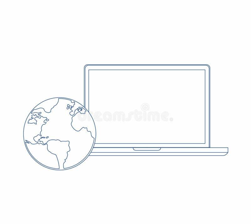 linje illustratör för bärbar datordator och jordklot Designdiagram royaltyfri illustrationer