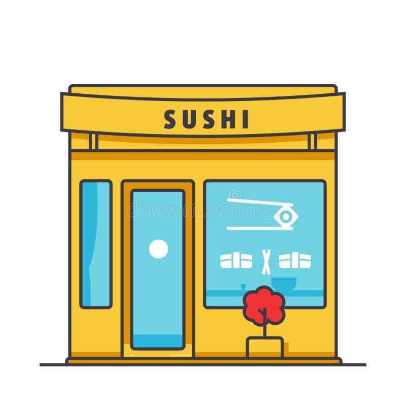 Linje illustration, begreppsvektorsymbol för lägenhet för byggnad för sushirestaurang vektor illustrationer