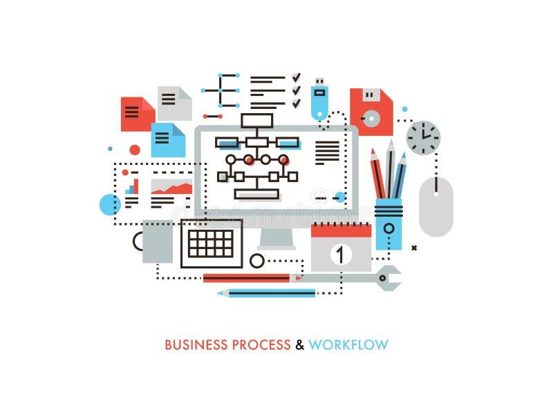 Linje illustration för affärsworkflowlägenhet vektor illustrationer