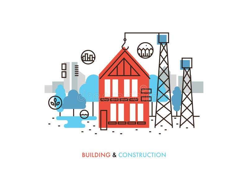 Linje illustration för konstruktionsbyggnadslägenhet stock illustrationer