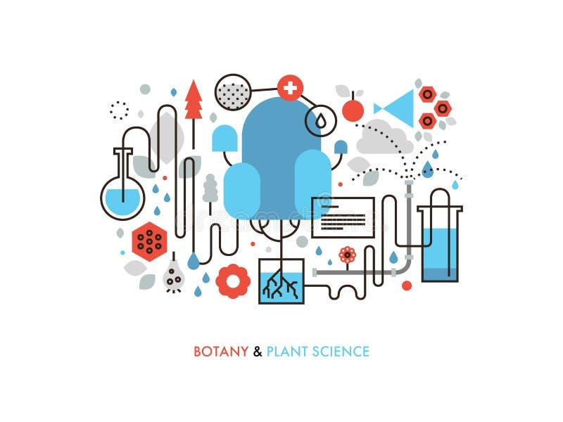 Linje illustration för lägenhet för växtvetenskap royaltyfri illustrationer