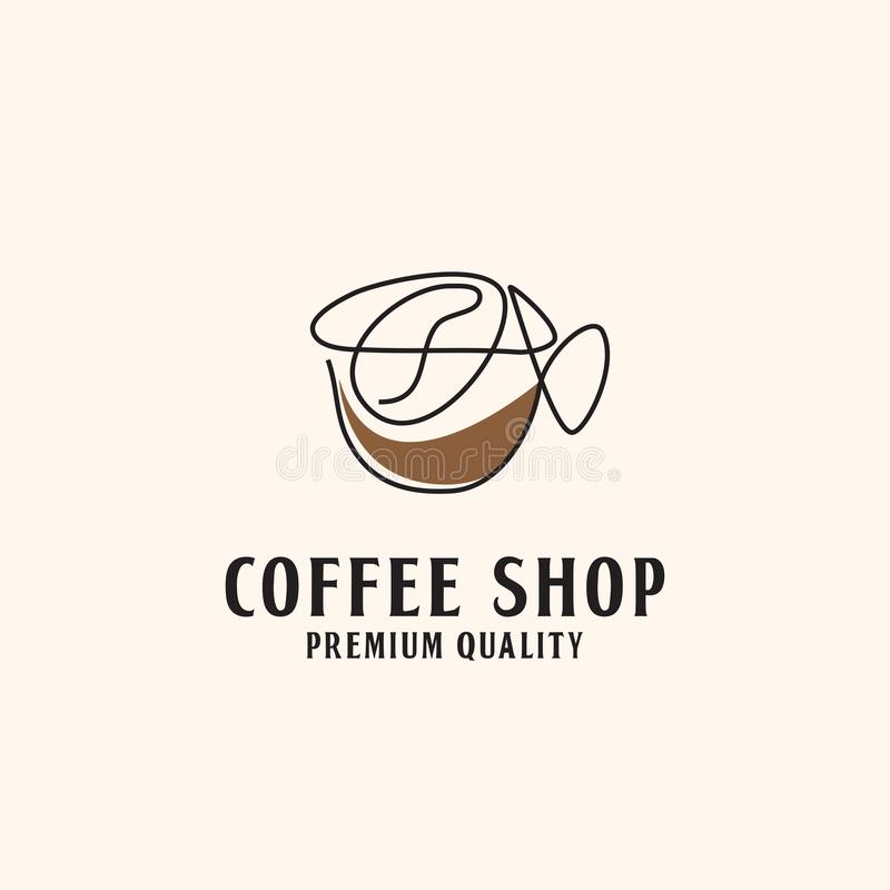 Linje illustration för logo för konstabstrakt begreppcoffee shop royaltyfri illustrationer