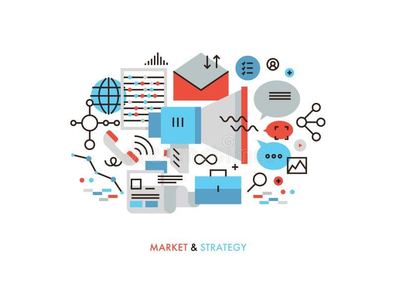 Linje illustration för marknadsstrategilägenhet vektor illustrationer