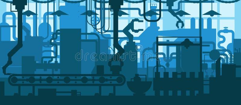 Linje illustration för transportör för fabriksväxt för begrepp för bakgrund för design för produktionutveckling industriell inre  vektor illustrationer