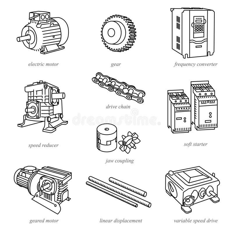 Linje illustrationer av drevteknologi som motorer vektor illustrationer
