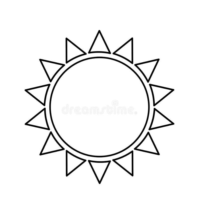 Linje illustrationvektor som för solsymbolslägenhet isoleras på vit stock illustrationer