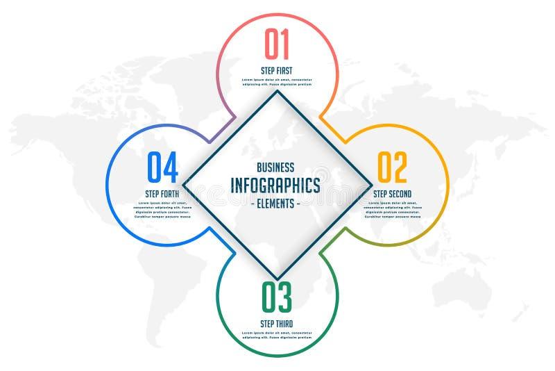Linje infographic mall för fyra moment för stil stock illustrationer