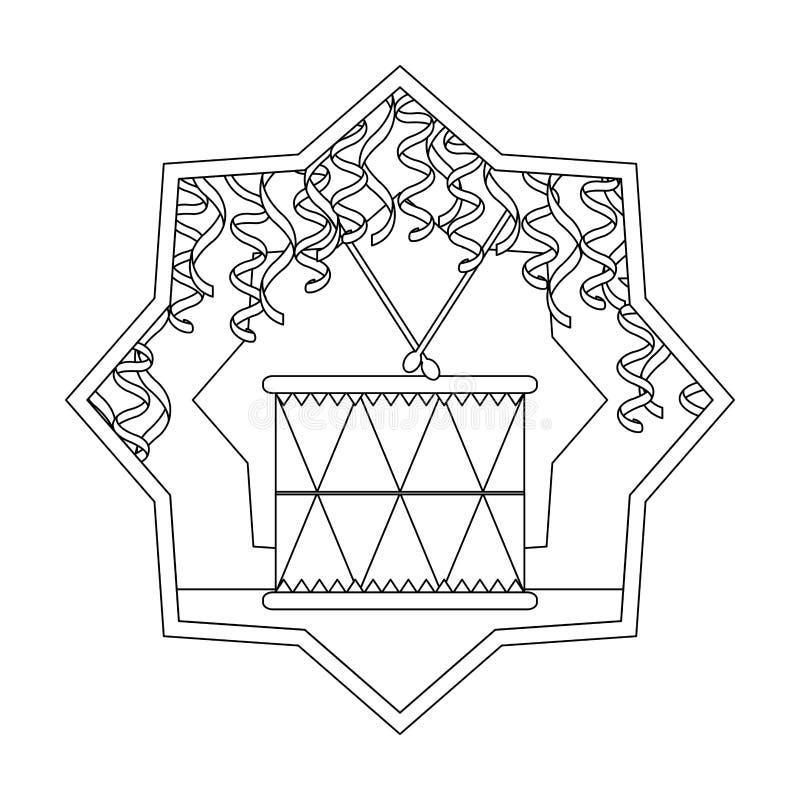 Linje inre stjärna för wood objekt för vals musikaliskt stock illustrationer