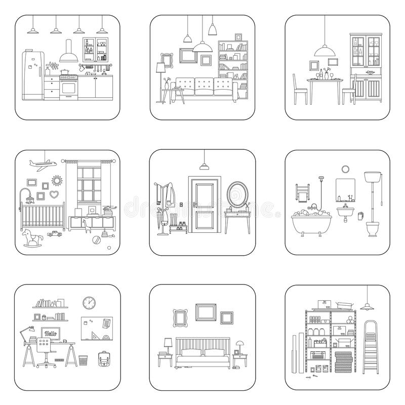 Linje inrerum stock illustrationer