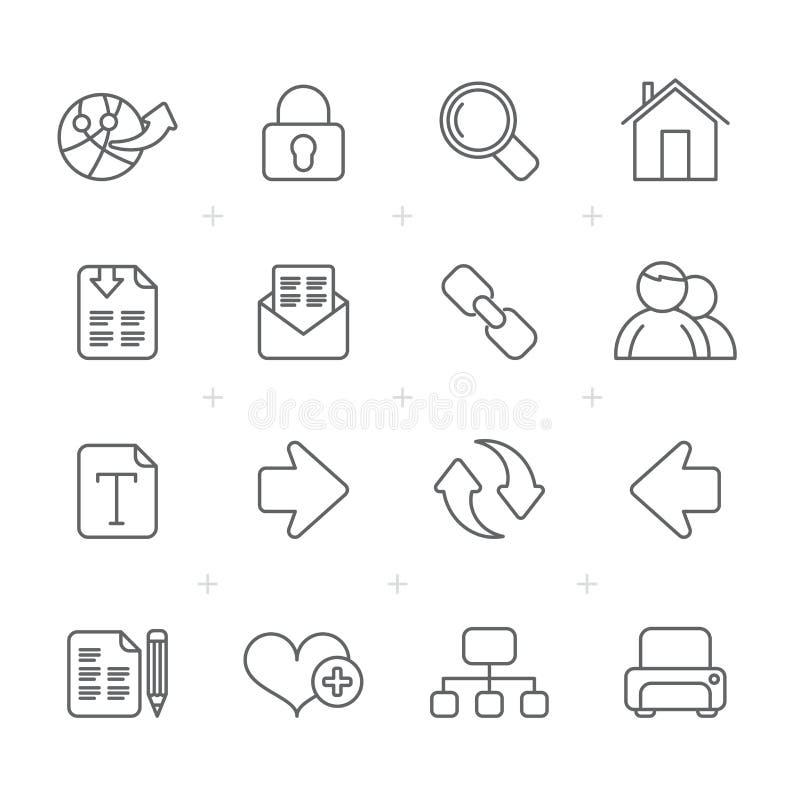 Linje internet och rengöringsduknavigeringsymboler royaltyfri illustrationer