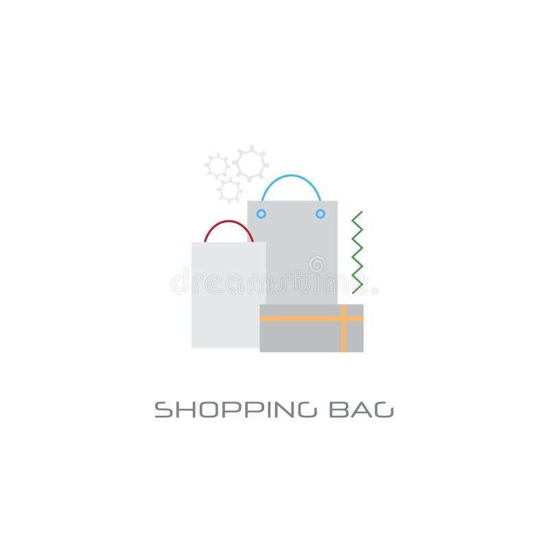 Linje isolerad stil för begrepp för shopping för ask för gåva för påsar för papp för Kraft papper online- royaltyfri illustrationer