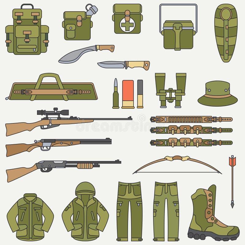 Linje jakt för lägenhetfärgvektor och campa utrustningsymbolsuppsättning Jägareutrustning, rustning Retro tecknad filmstil djurli stock illustrationer