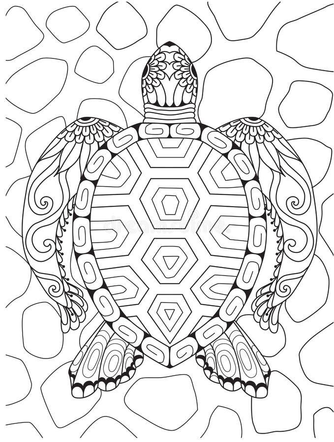 Linje konst av den härliga sköldpaddan för designbeståndsdel också vektor för coreldrawillustration stock illustrationer