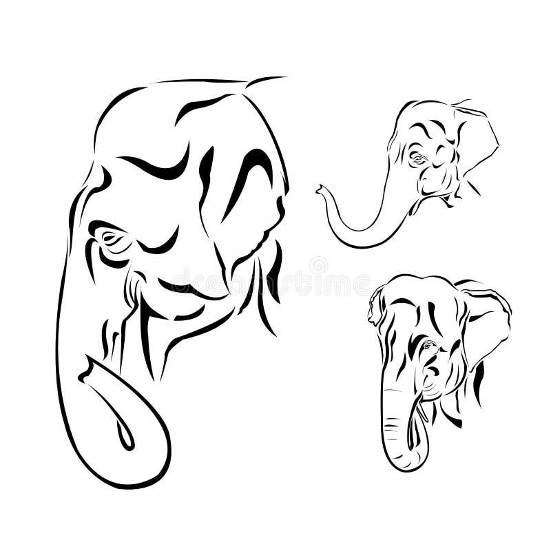 Linje konst av elefanthuvudet stock illustrationer