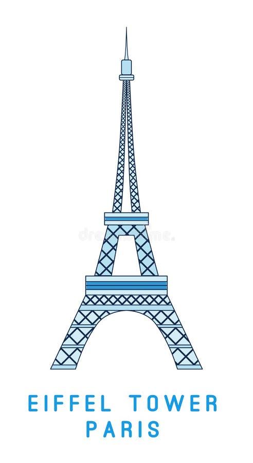 Linje konst, Eiffeltorn, Paris symbol, europeisk showplace vektor illustrationer