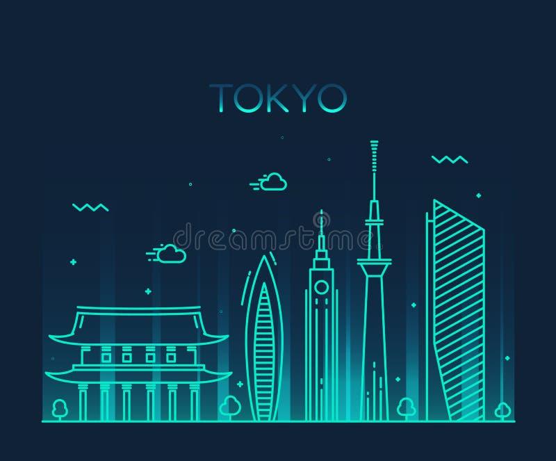 Linje konst för illustration för vektor för Tokyo stad moderiktig vektor illustrationer