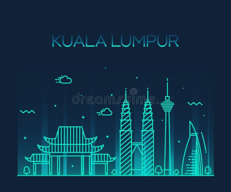 Linje konst för Kuala Lumpur Trendy vektorillustration royaltyfri illustrationer