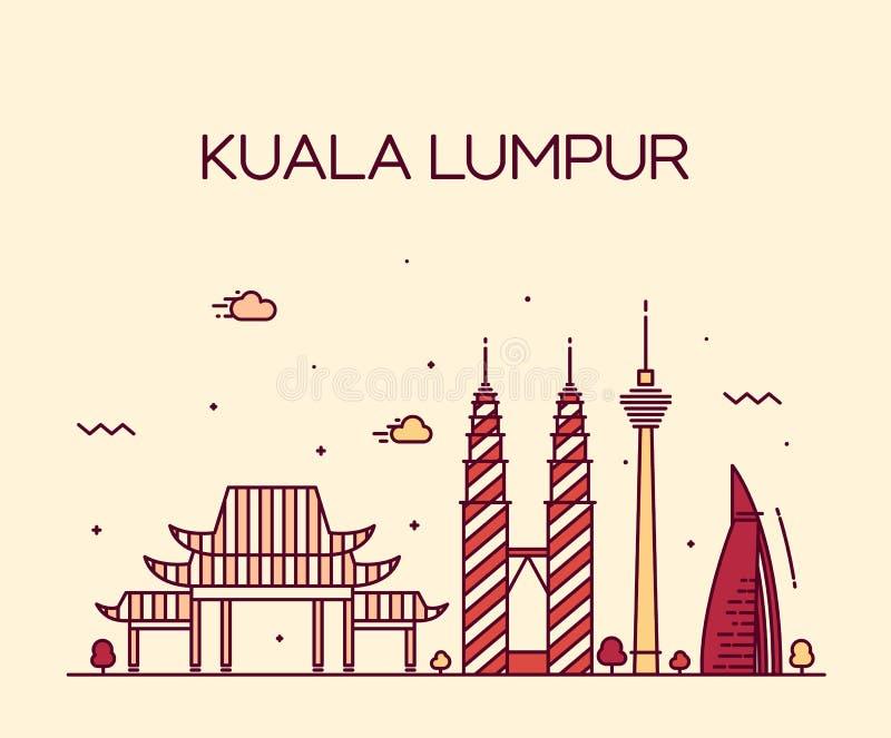 Linje konst för Kuala Lumpur Trendy vektorillustration vektor illustrationer