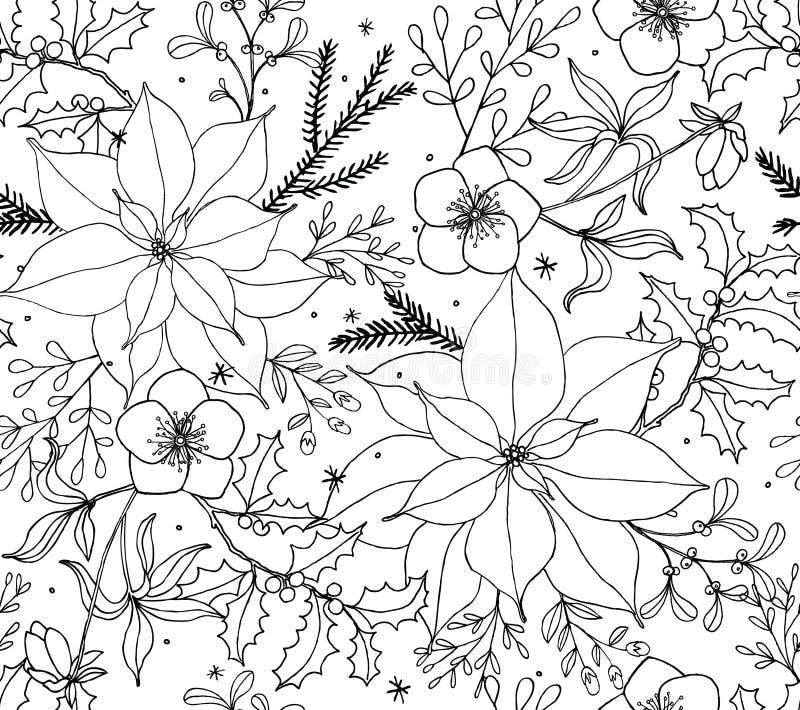 Linje konst för modell för vektor för juljulstjärna blom- sömlös vektor illustrationer