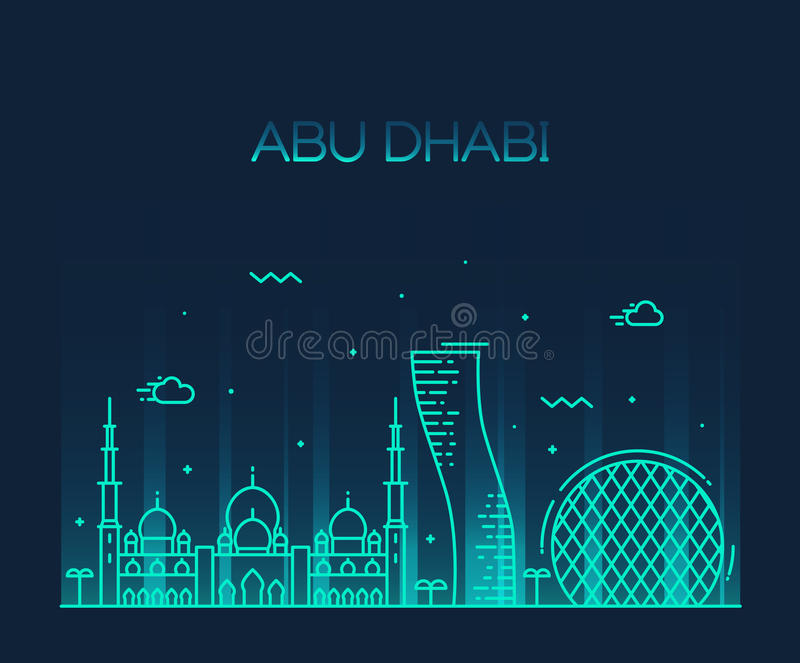 Linje konst för vektor för Abu Dhabi City horisont moderiktig stock illustrationer