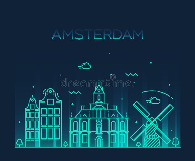 Linje konst för vektor för Amsterdam stadshorisont moderiktig royaltyfri illustrationer