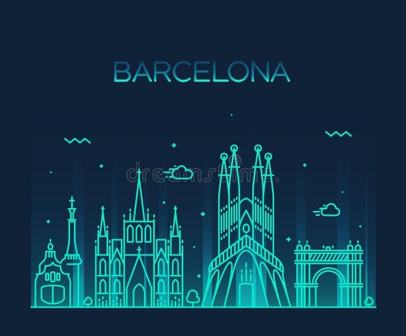 Linje konst för vektor för Barcelona stadshorisont moderiktig royaltyfri illustrationer