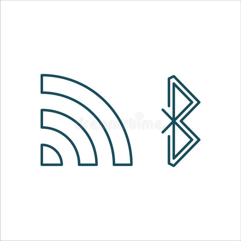 Linje konst för Wifi och Bluetooth symbolsvektor stock illustrationer