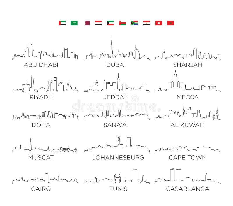 Linje konst, vektorillustrationdesign för arabiska halvön- och Afrika horisontstad stock illustrationer
