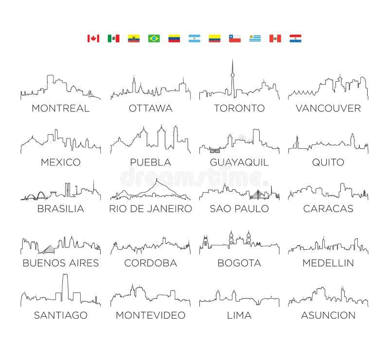 Linje konst, vektorillustrationdesign för nord- och Sydamerika horisontstad royaltyfri illustrationer