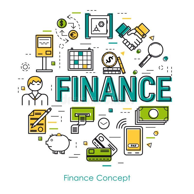 Linje konstbegrepp - finansbegrepp vektor illustrationer
