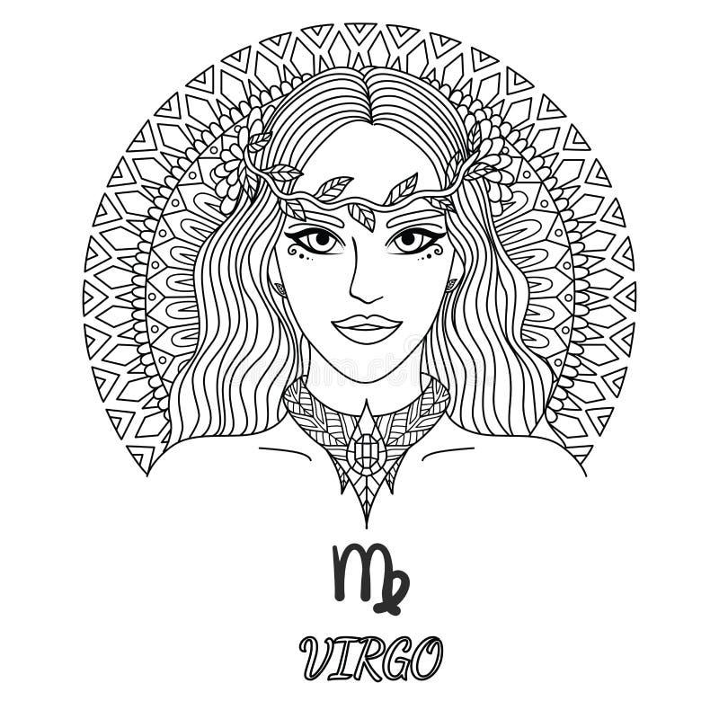 Linje konstdesign av den härliga flickan, virgozodiaktecken för designbeståndsdel och sida för färgläggningbok för vuxen människa vektor illustrationer