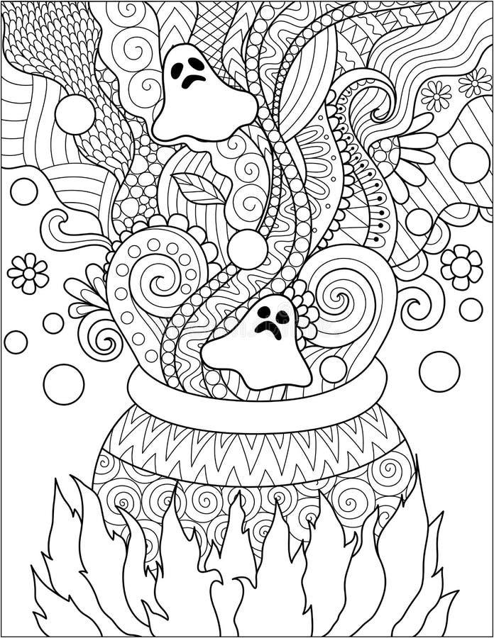 Linje konstdesign av kokande gift för kittel för allhelgonaaftonkort, inbjudan och sida för vuxen människafärgläggningbok också v royaltyfri illustrationer