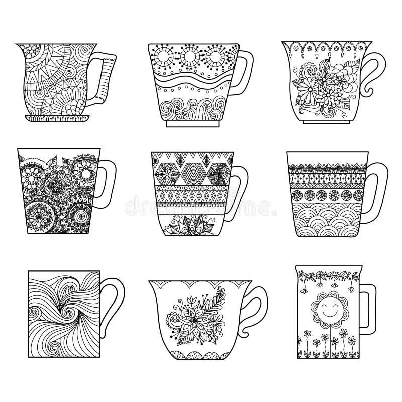 Linje konstdesign för nio tekoppar för färgläggningboken för anti-spänning, menydesignbeståndsdel eller andra garneringar vektor illustrationer