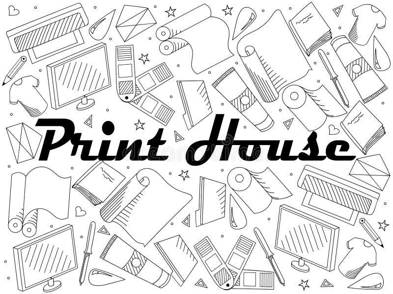 Linje konstdesignvektor för bok för tryckhusfärgläggning Avskilj objekt Hand drog klotterdesignbeståndsdelar stock illustrationer