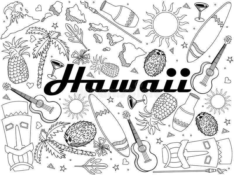 Linje konstdesignvektor för Hawaii färgläggningbok Avskilj objekt Hand drog klotterdesignbeståndsdelar stock illustrationer