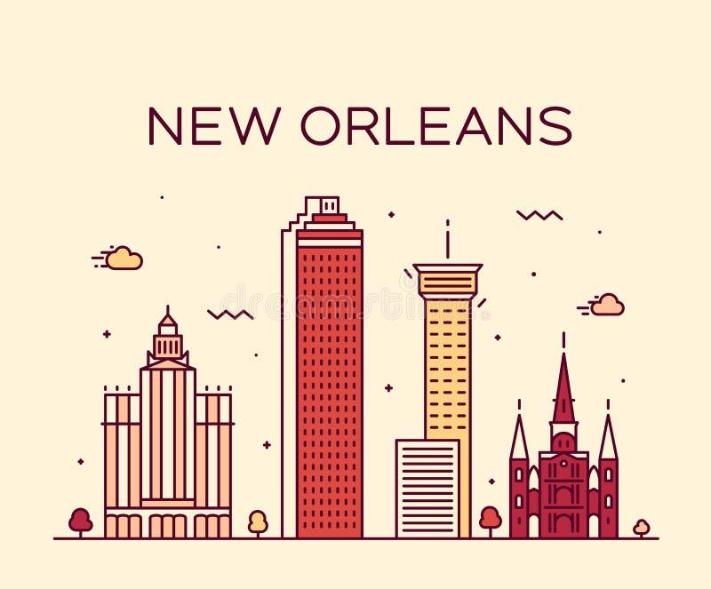 Linje konststil för New Orleans USA horisontvektor vektor illustrationer
