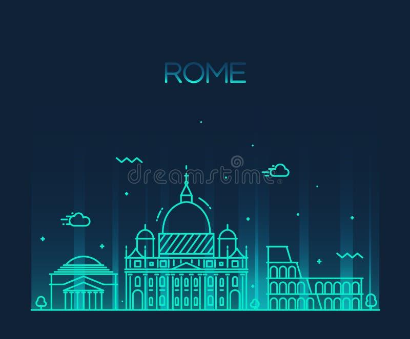 Linje konststil för vektor för Rome stad horisont specificerad royaltyfri illustrationer