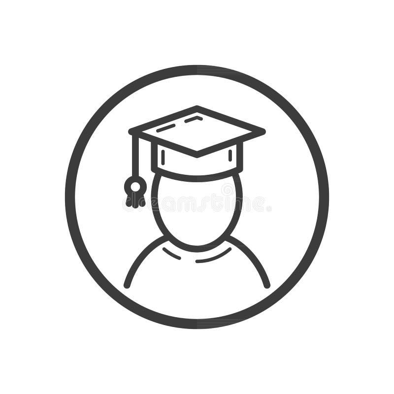 linje konstsymbol av en doktorand i en rund ram royaltyfri illustrationer